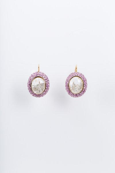 Renee Lewis - Yellow Gold Pink Sapphire Diamond Shake Earrings
