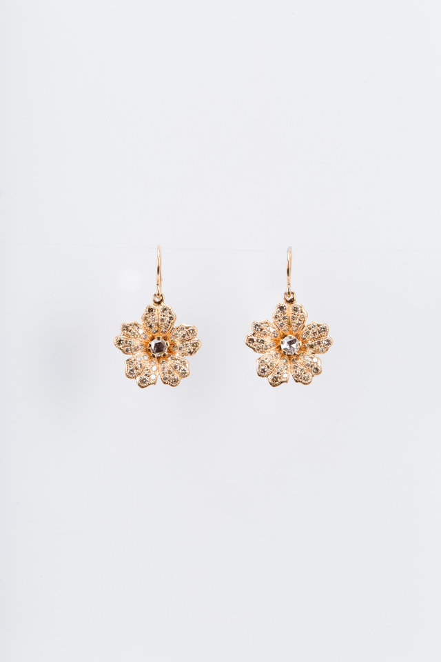 Pink Gold Champagne Diamond Wild Rose Earrings