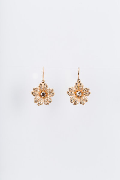 Nam Cho - Pink Gold Champagne Diamond Wild Rose Earrings