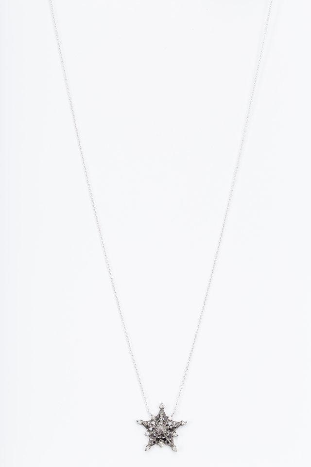 White Gold Black Diamond Star Pendant Necklace