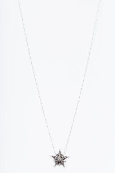 Nam Cho - White Gold Black Diamond Star Pendant Necklace
