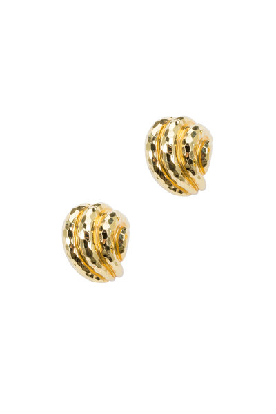 Fred Leighton - Hammered Yellow Gold Shell Earrings
