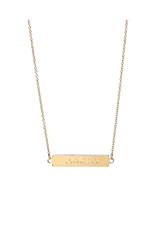 """Yellow Gold """"Balance"""" And """"Strength"""" Necklace"""