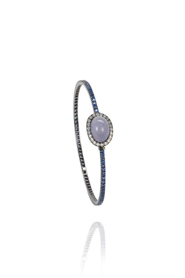 Gold Chalcedony & Sapphire Hinged Stack Bangle