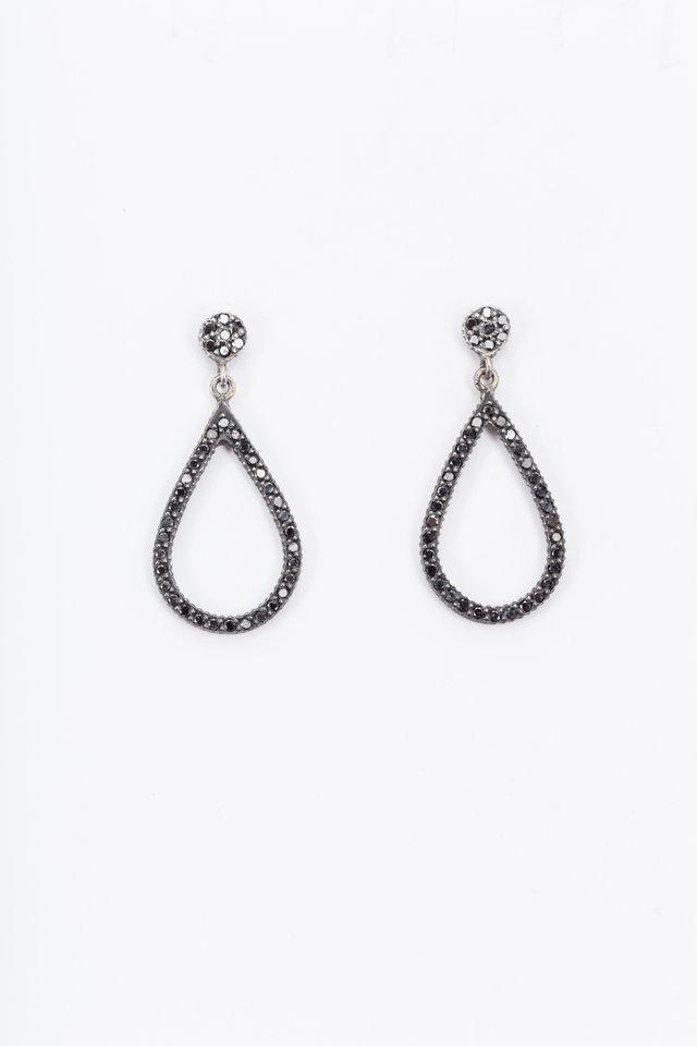 Black Diamond Teardrop Dangle Earrings