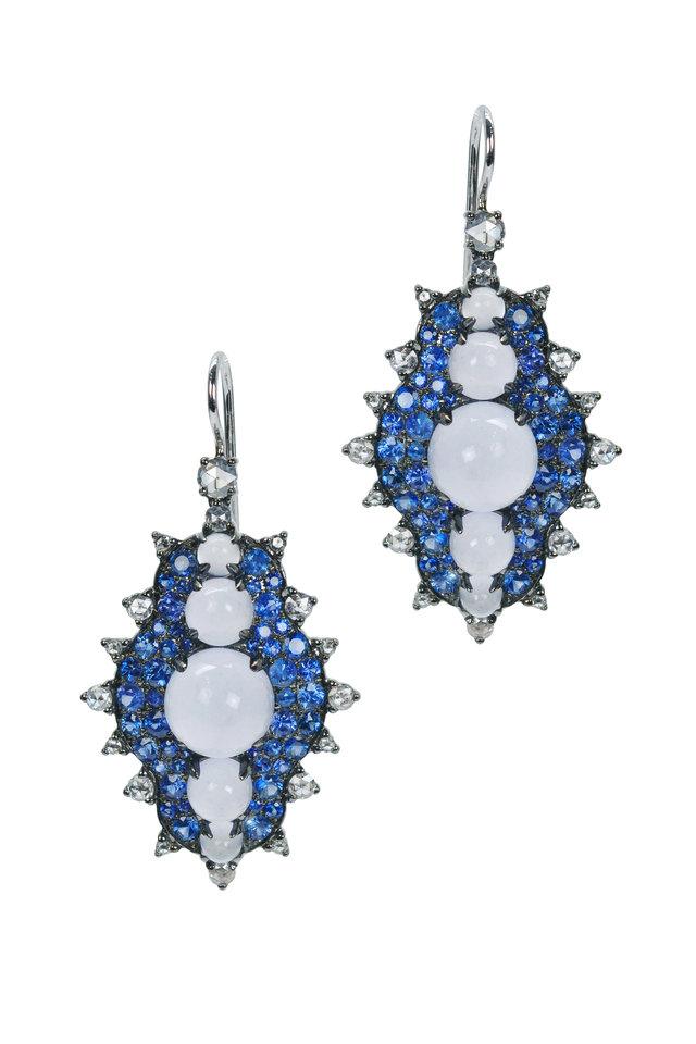 Blue Sapphire Bullseye Snowman Earrings