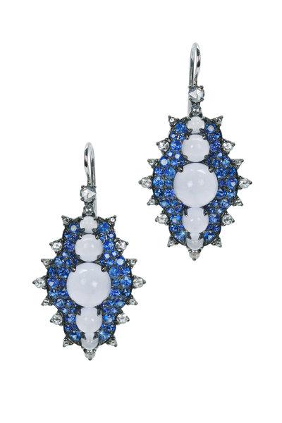 Nam Cho - Blue Sapphire Bullseye Snowman Earrings