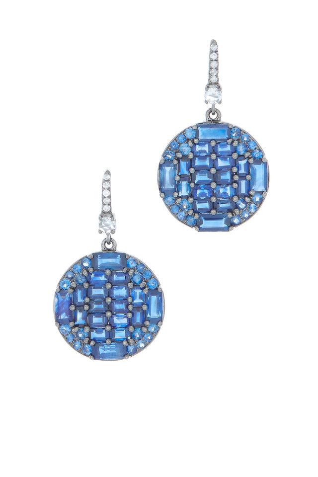 18K White Gold Sapphire & Diamond Drop Earrings