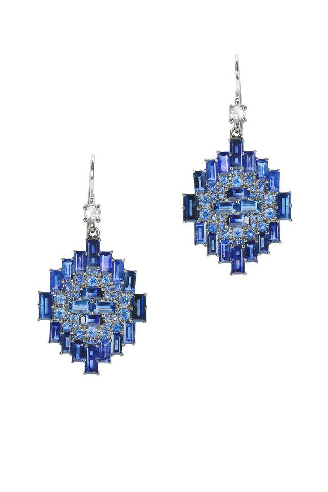 White Gold Blue Sapphire & Diamond Drop Earrings
