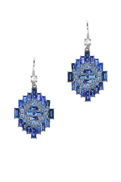 Nam Cho - White Gold Blue Sapphire & Diamond Drop Earrings