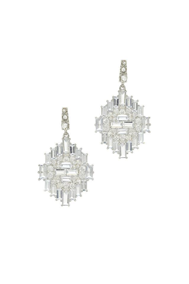White Gold Sapphire Diamond Navajo Dangle Earrings