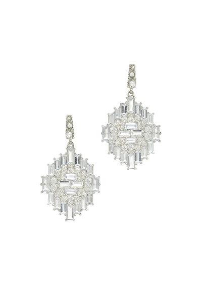 Nam Cho - White Gold Sapphire Diamond Navajo Dangle Earrings
