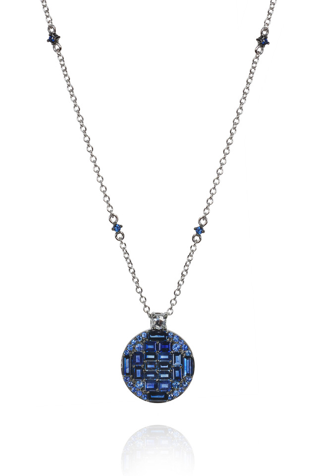 White Gold Blue Sapphire Diamond Pendant