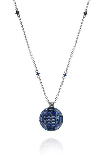 Nam Cho - White Gold Blue Sapphire Diamond Pendant