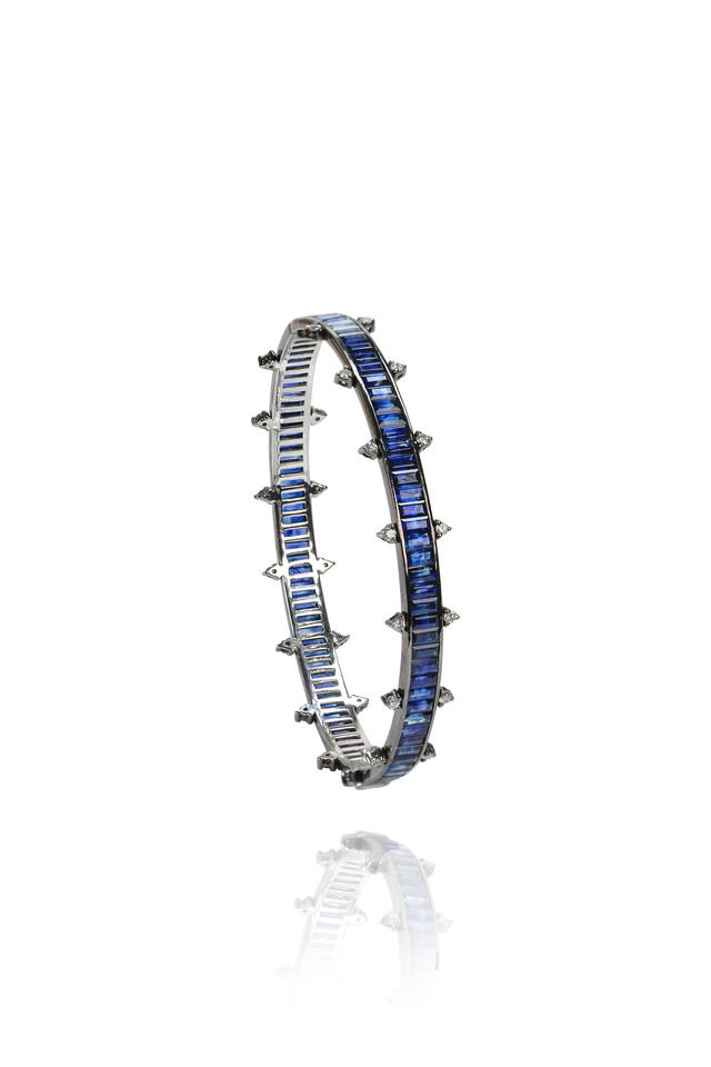 White Gold Blue Sapphire Diamond Bangle