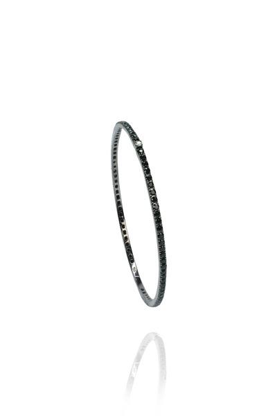 Nam Cho - White Gold Black Sapphire Stack Bangle