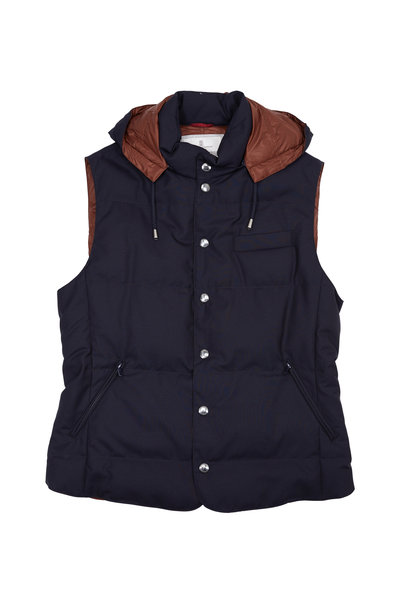 Brunello Cucinelli - Navy Blue Wool Quilted Down Hooded Vest
