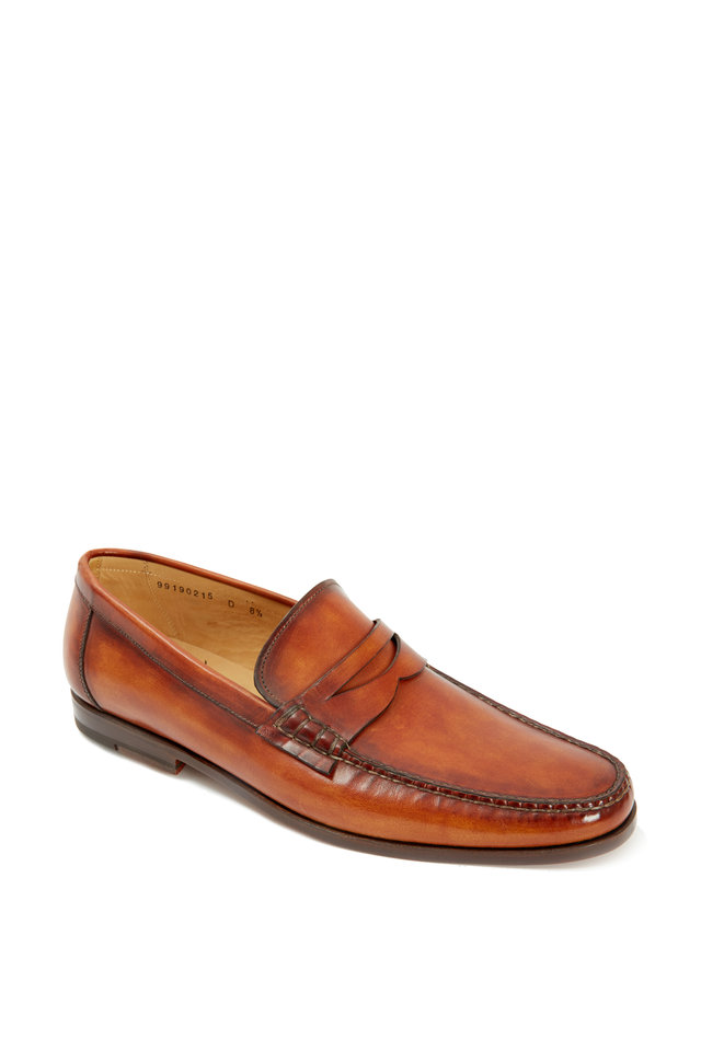 Light Tan & Dark Brown Leather Penny Loafer