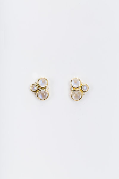 Temple St. Clair - Yellow Gold Moonstone Cluster Diamond Earrings