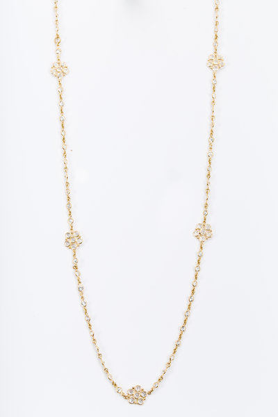 Temple St. Clair - Yellow Gold White Sapphire Daisy Chain Necklace
