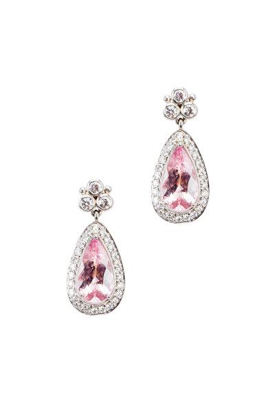 Temple St. Clair - Platinum Granulated Pavé-Set Diamond Earrings