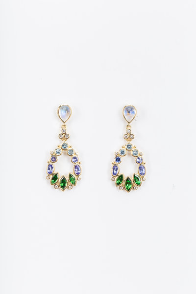 Temple St. Clair - Yellow Gold Anima Blue Moonstone Drop Earrings