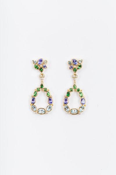 Temple St. Clair - Gold Anima Gemstone Cluster Diamond Earrings