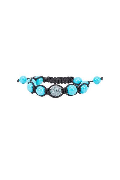 Loren Jewels - Gold & Macrame Turquoise Bead Diamond Bracelet