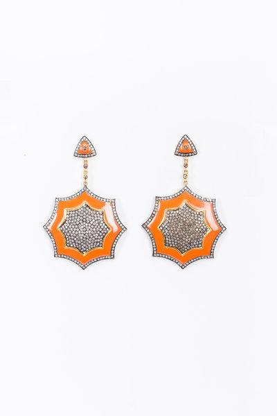 Loren Jewels - Gold & Silver Coral Enamel Diamond Earrings