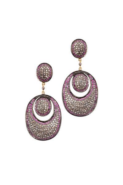 Loren Jewels - Gold & Silver Pavé-Set Ruby Diamond Earrings