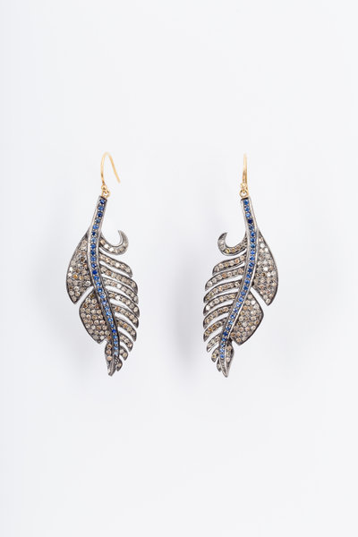 Loren Jewels - Gold & Silver Sapphire Diamond Feather Earrings