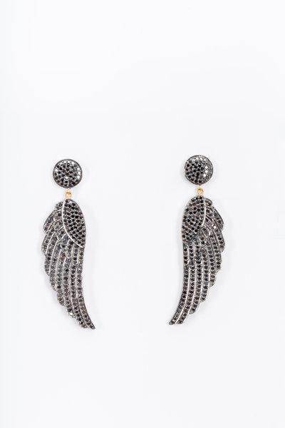 Loren Jewels - Gold & Silver Black Diamond Wing Earrings