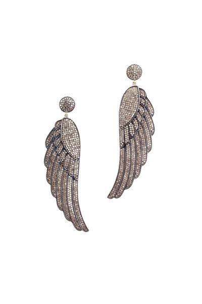 Loren Jewels - Gold & Silver Champagne Diamond Wing Earrings