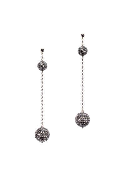 Loren Jewels - Yellow Gold Black Diamond Dangle Ball Earrings