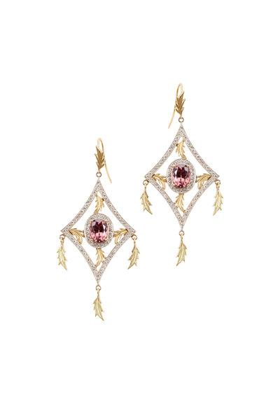 Sylva & Cie - Gold Natural Zircon & Diamond Dangle Kite Earrings