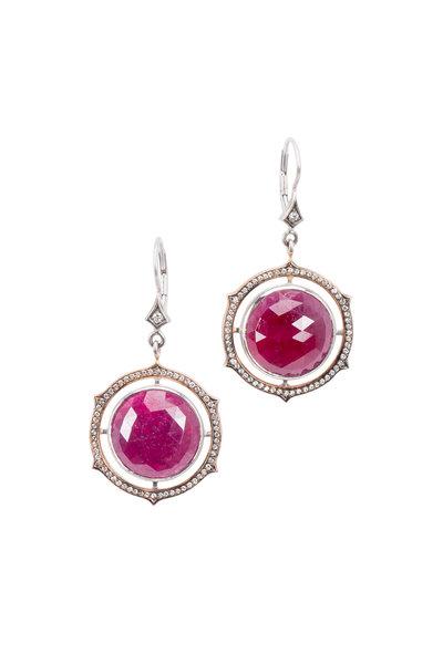 Sylva & Cie - Rose & White Gold Ruby Diamond Drop Earrings