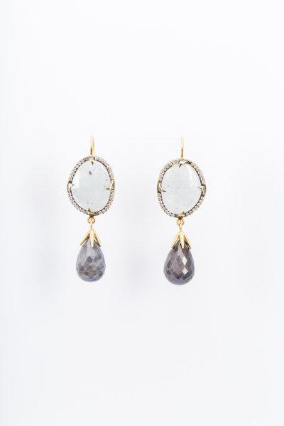 Sylva & Cie - Yellow Gold Sapphire Diamond Drop Earrings
