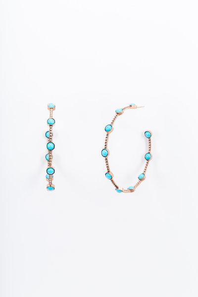 Sylva & Cie - Rose Gold Turquoise Hoop Earrings