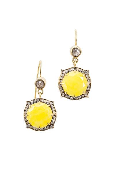 Sylva & Cie - Yellow Gold Smithsonite Diamond Drop Earrings