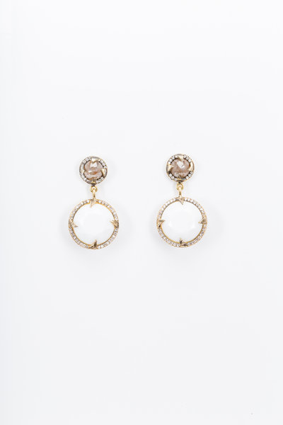 Sylva & Cie - Yellow Gold Cacholong & Rough Diamond Earrings