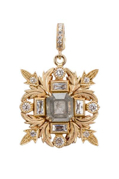 Sylva & Cie - Yellow Gold Rough & White Diamond Eden Pendant