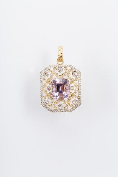 Sylva & Cie - Yellow & White Gold Amethyst Diamond Pendant