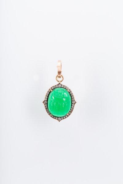 Sylva & Cie - Rose Gold White Diamond Intaglio Scarab Pendant