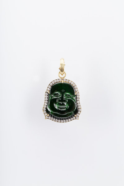 Sylva & Cie - Yellow Gold Jade Buddha White Diamond Pendant