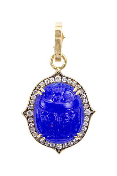 Sylva & Cie - Yellow Gold Blue Intaglio Diamond Pendant