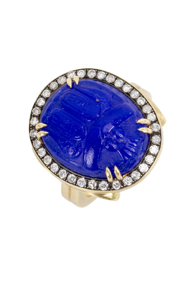 Sylva & Cie - Yellow Gold Intaglio Scarab Diamond Cocktail Ring