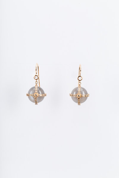 Nam Cho - Gold Moonstone Champagne Diamond Dangle Earrings