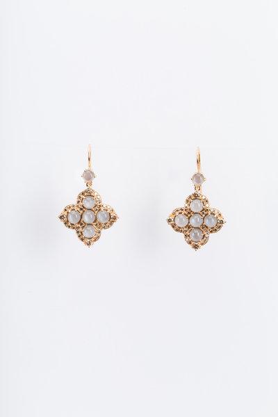 Nam Cho - Pink Gold Moonstone Champagne Diamond Earrings