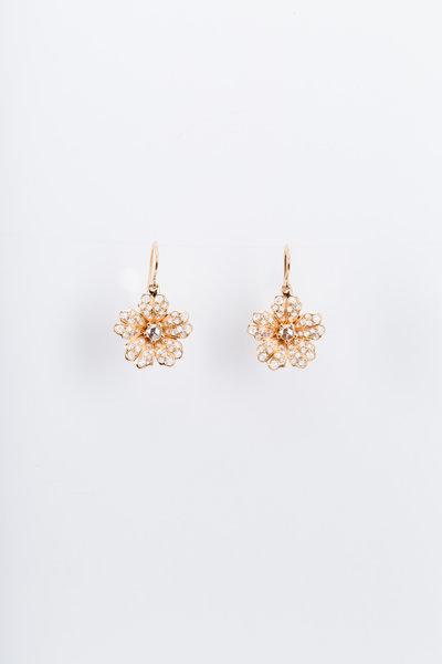 Nam Cho - Pink Gold Wild Rose Flower Diamond Dangle Earrings