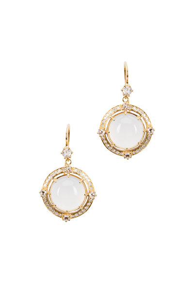 Nam Cho - White Gold Wild Rose Diamond Dangle Earrings